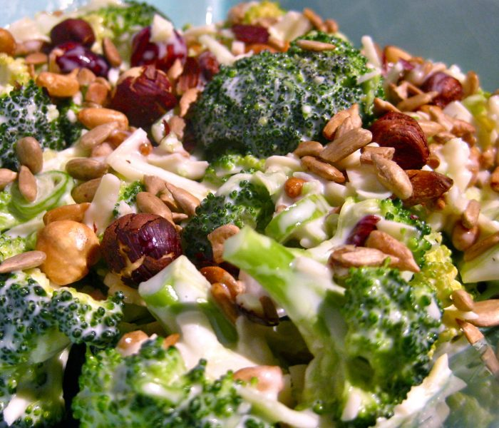 Creamy raw broccoli and roasted nut salad